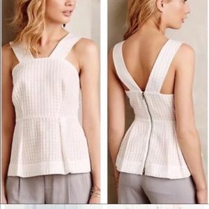 Anthropologie Maeve pleated peplum straps top